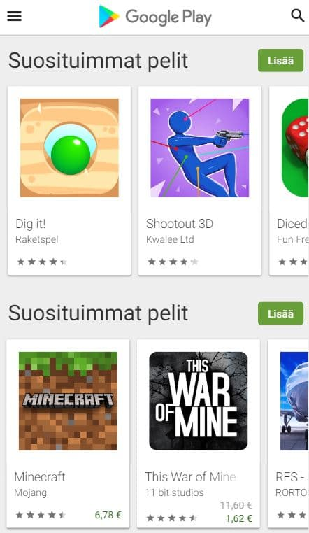 suosituimmat mobiilipelit google play store
