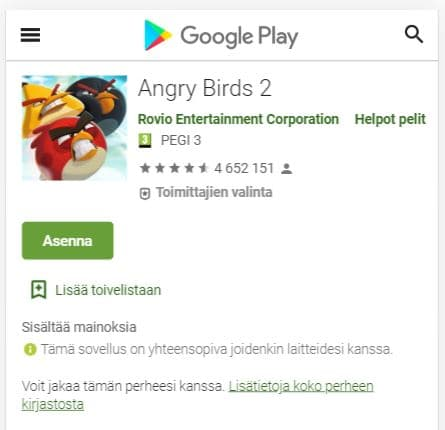 Angry birds peli on Rovion ykköspeli